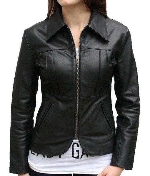 Womens Slimfit Black Biker Leather Jacket