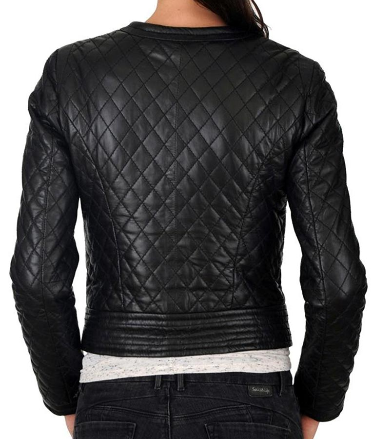 Women's Stylish Fit Black Collarless Real Leather Jacket