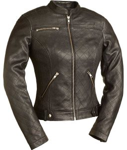 Womens Spandex Fitted Quilted Stitched Biker Jacket