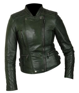 Womens Stylish Quilted Double Zipper Green Biker Leather Jacket