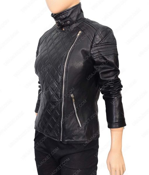Womens Detailed Stitched Black Biker Leather Jacket