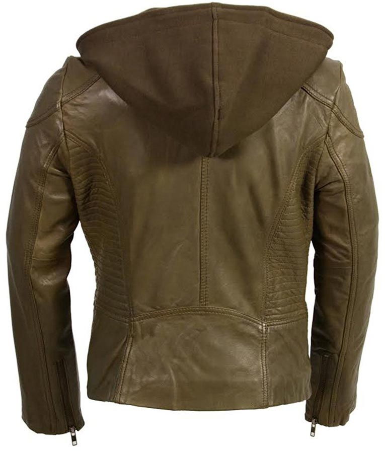 f221ed02a Womens Hooded Motorcycle Olive Leather Jacket