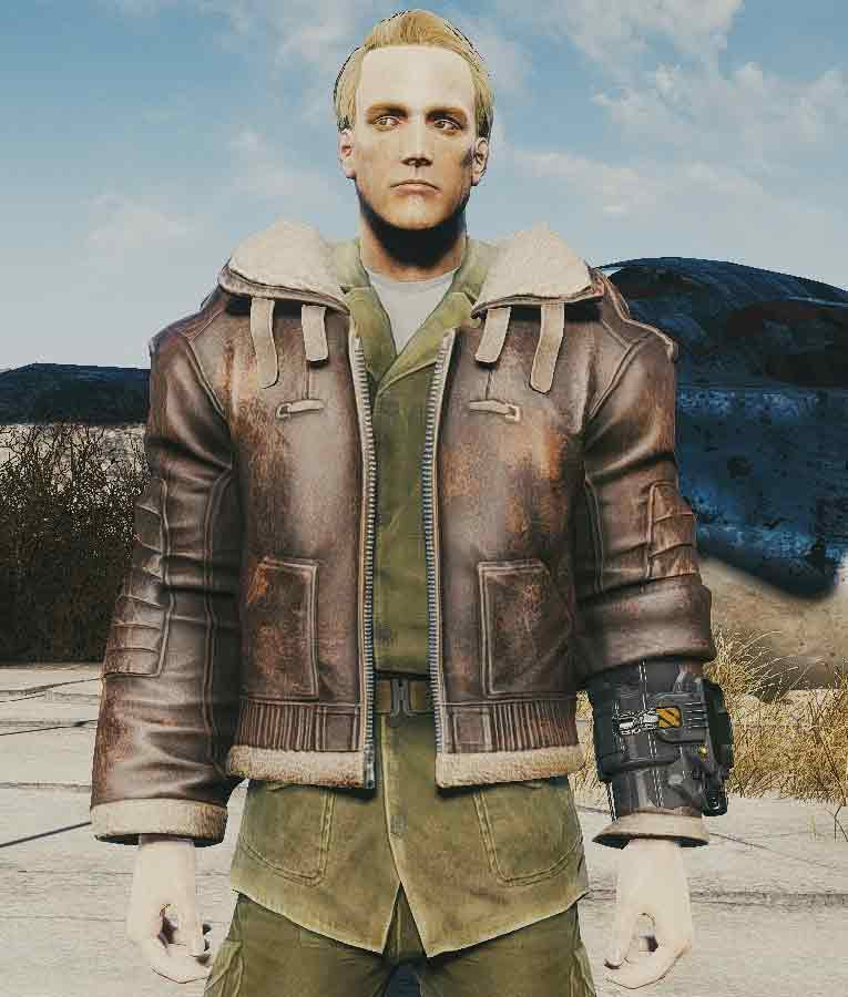 Fallout 4 Bomber Armor Fur Lined Brown Leather Jacket