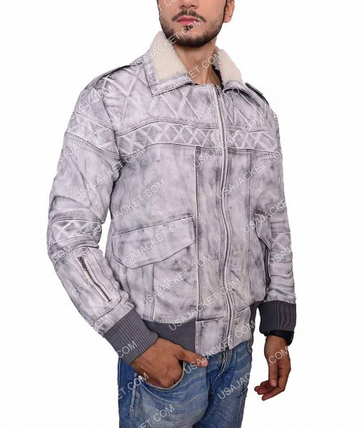 Ghost In The Shell Batou Leather Bomber Jacket