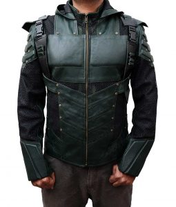 Stephen Amell Season 5 Green Arrow Hooded Leather Jacket
