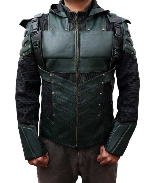Season 5 Green Arrow Hooded Leather Jacket