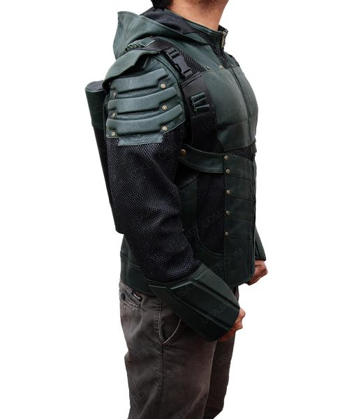 Stephen Amell Season 5 Green Arrow Hooded Jacket
