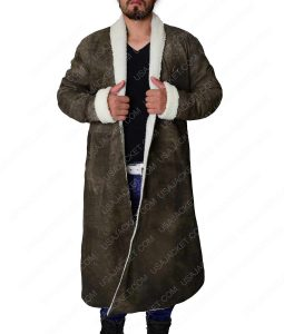 King Arthur Leather Trench Coat With Shearling