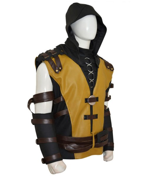 Mortal Kombat Scorpion Leather Jacket With Hood