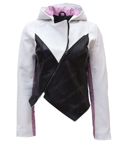 Spider-man Into The Spider-Verse Gwen Stacy Hooded Leather Jacket