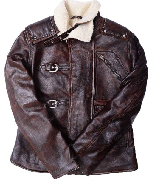 The New Order Distressed Brown Leather Jacket