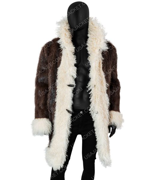 Vin Diesel Long Leather Fur Coat