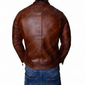 Vintage Café Racer Distressed Brown Biker Leather Jacket