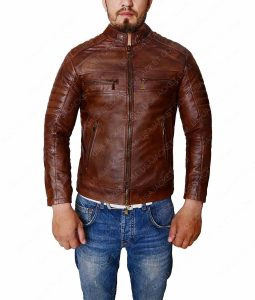 Cafe Racer Distressed Brown Vintage Slimfit Leather Jacket