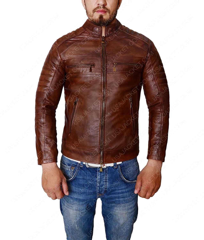 Cafe Racer Distressed Brown Vintage Slimfit Leather Jacket