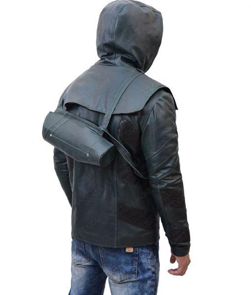 Josh Segarra Adrian Chase Arrow Prometheus Hooded Leather Jacket