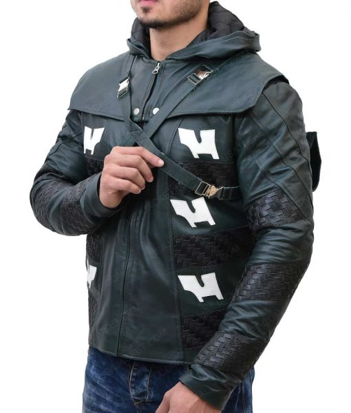 Adrian Chase Arrow Prometheus Hooded Leather Jacket