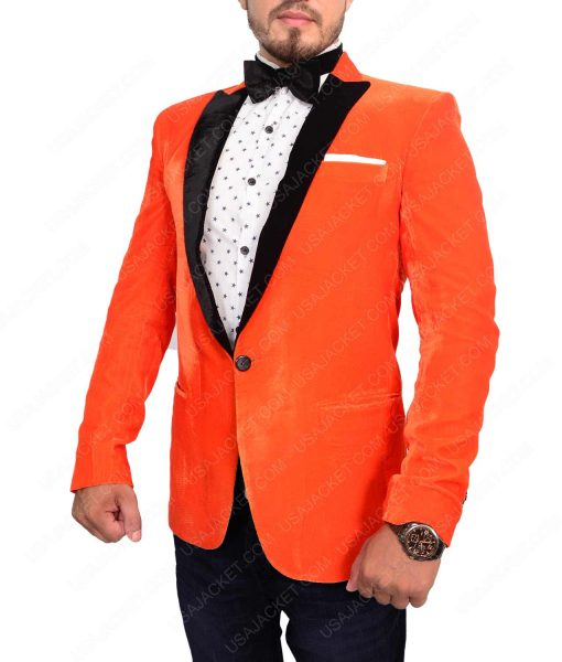 Eggsy Kingsman The Golden Circle Tuxedo Orange Smoking Dinner Jacket