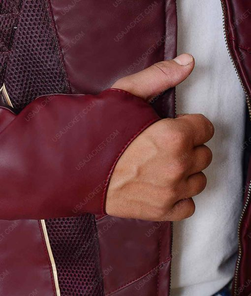 The Flash Season 4 Maroon Leather Jacket