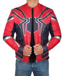 Infinity War Spiderman Tom Holland Peter Parker Costume Leather Jacket