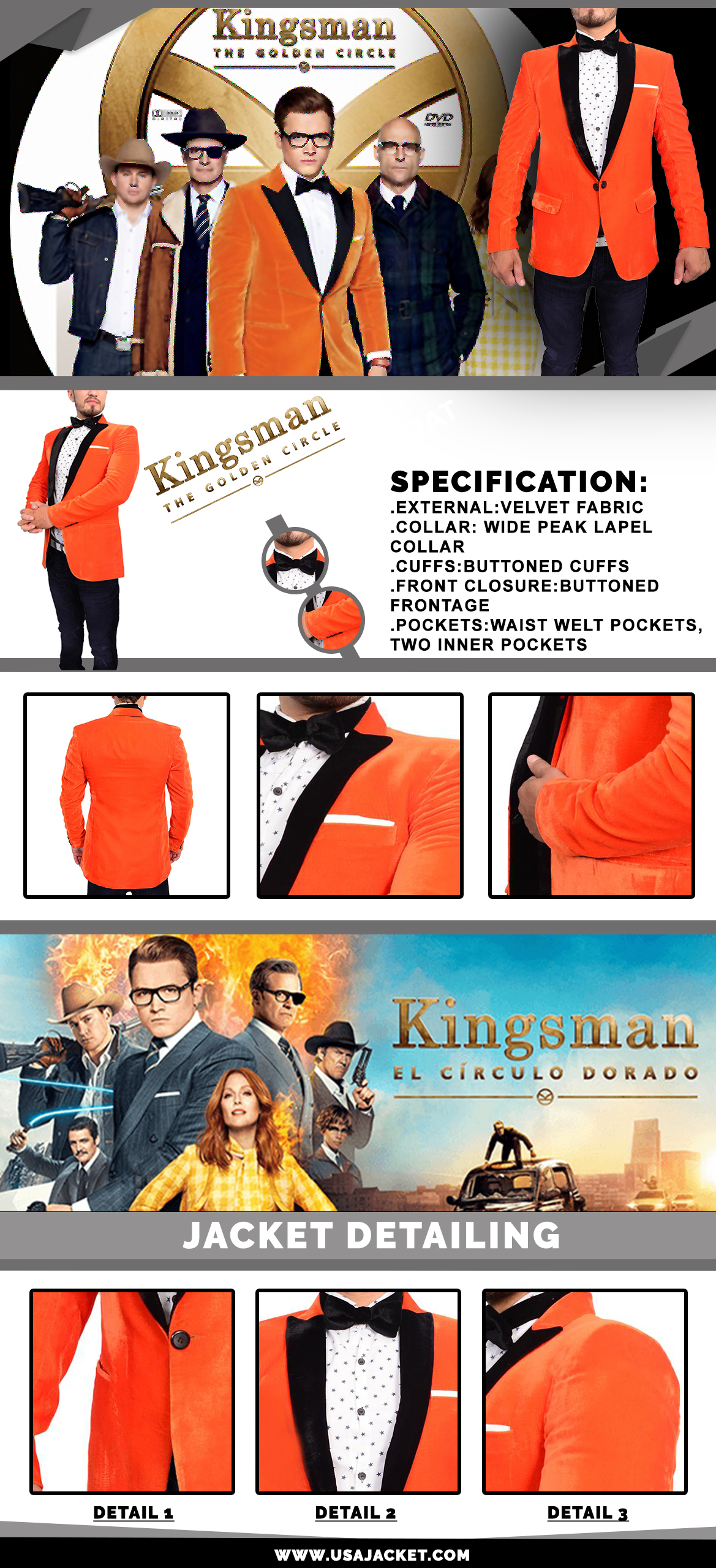 The Golden Circle Orange Dinner Tuxedo Jacket Suit