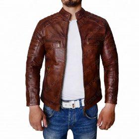 Distressed Brown Vintage Motorcycle Leather Jacket