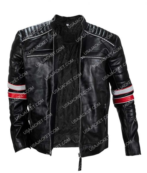 Café Racer Retro Vintage Distressed Black Motorcycle Leather Jacket