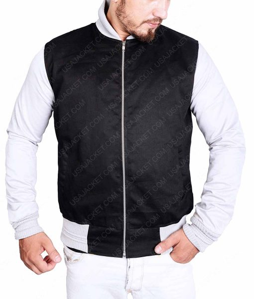 White Sleeves Black Bomber Jacket