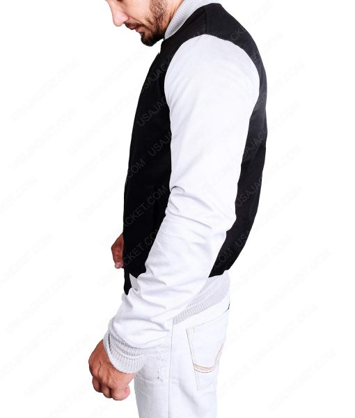 White Sleeves Black Varsity Cotton Jacket