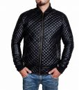 Mens Quilted Black Bomber Leather Jacket
