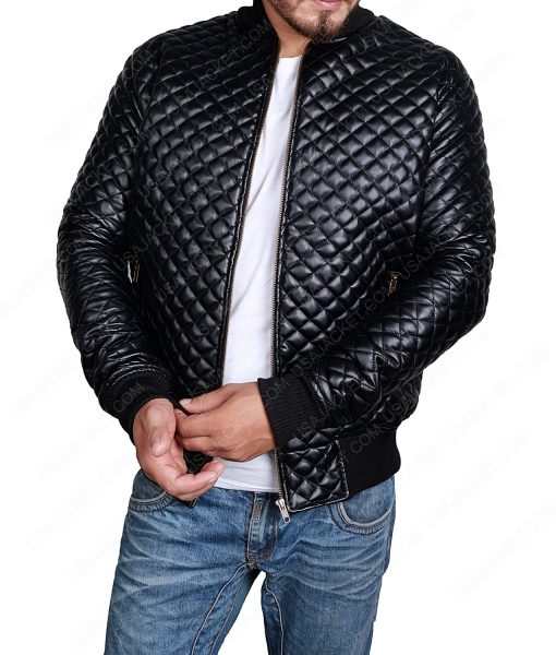 Quilted Bomber Mens Black Leather Jacket