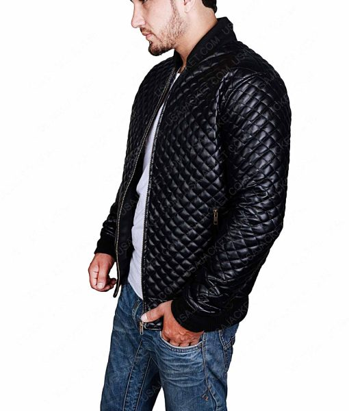 Quilted Style Mens Black Leather Bomber Jacket