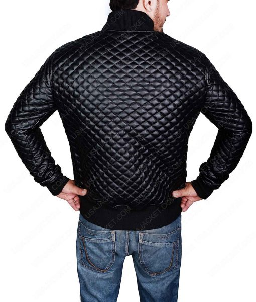 Mens Black Quilted Bomber Jacket