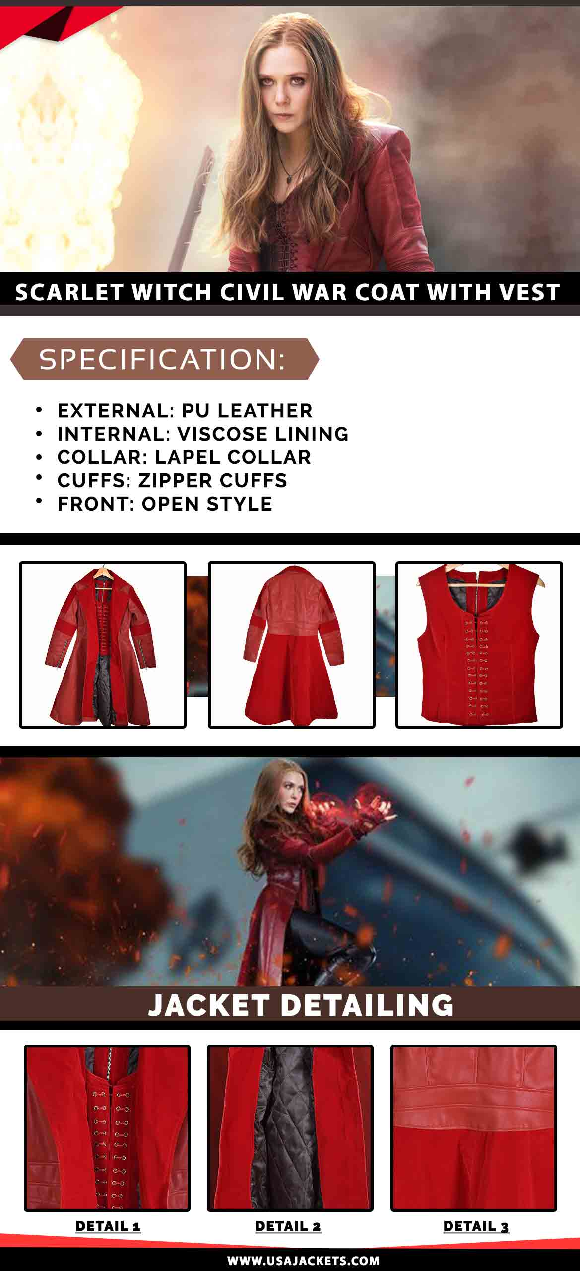Scarlet Witch Coat With Vest