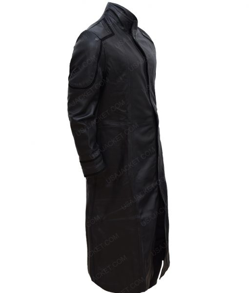 L. Jackson Avengers Long Leather Trench Coat