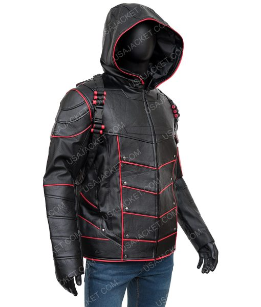 Arrow Crisis On Earth-X Stephen Amell Dark Arrow leather Hooded Jacket With Quiver
