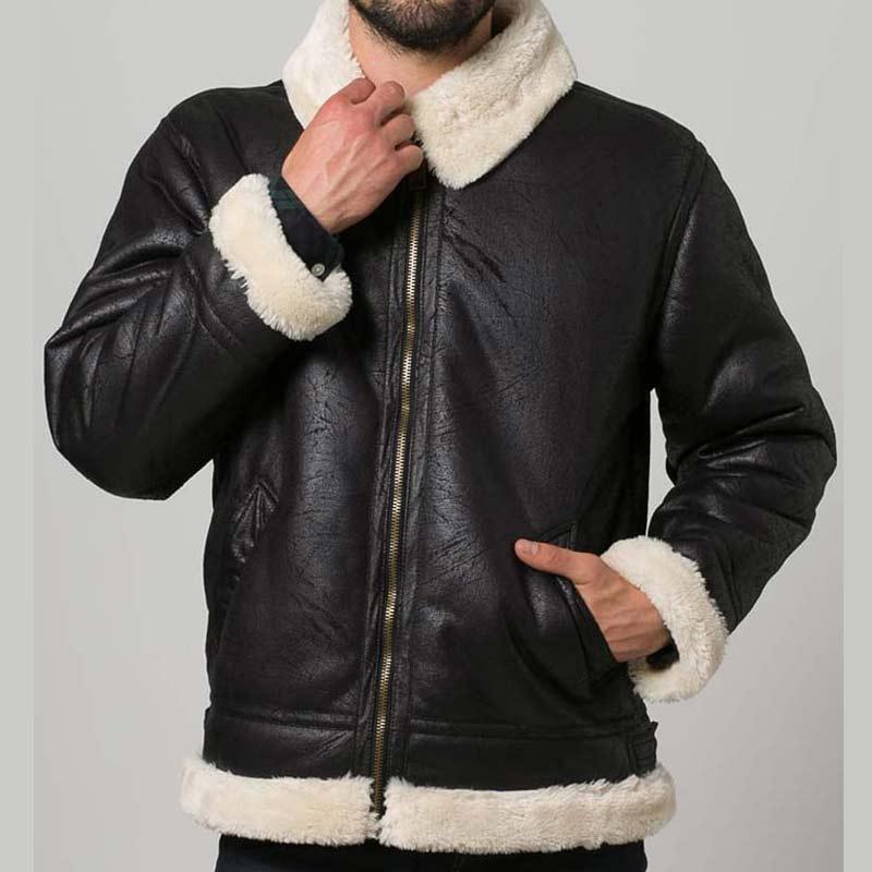 df15314cab Black Leather Mens Aviator Style Shearling Jacket - USA Jacket