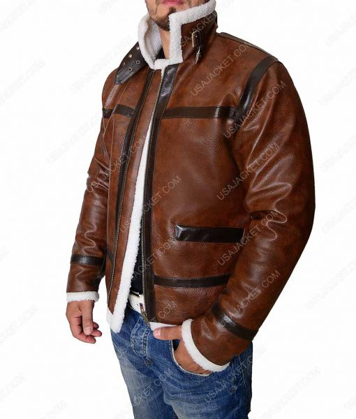 Distressed Brown Mens Shearling Faux Aviator Leather Jacket