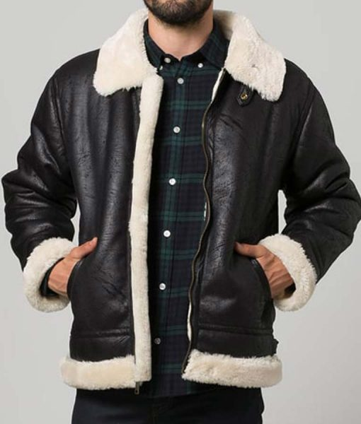 Black Leather Mens Aviator Style Shearling Jacket