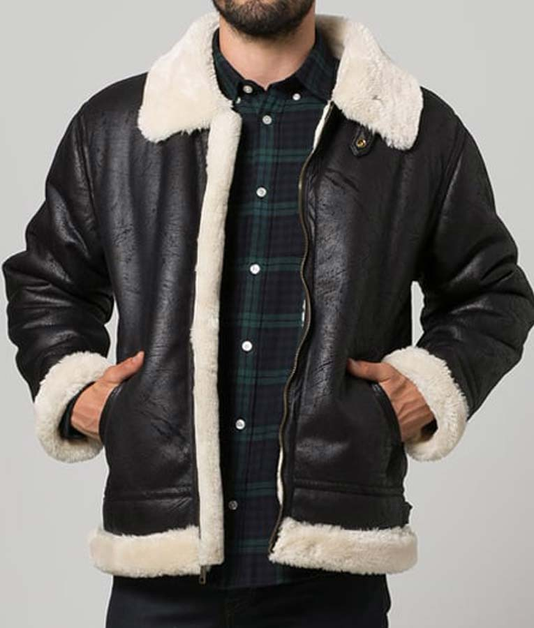 Black Leather Mens Aviator Style Shearling Jacket Usa Jacket
