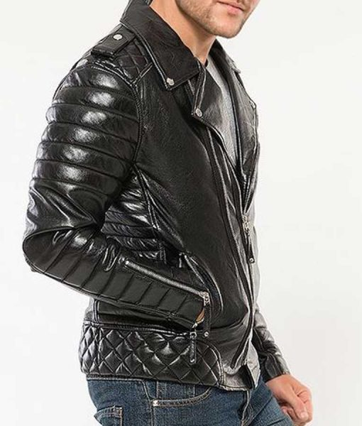 Black Padded Classic Motorcycle Mens Leather Jacket