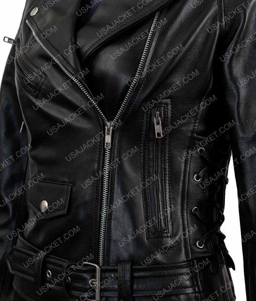 Womens Asymmetrical Zipper Motorcycle Black Leather Jacket