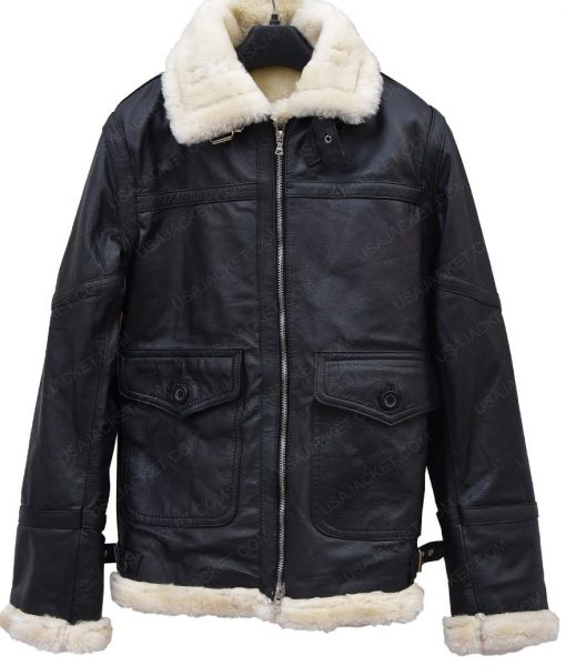Women Ivory Shearling Black Leather Aviator Jacket