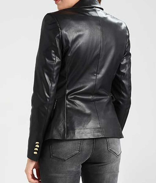 Womens Black Leather Double Breasted Slimfit Blazer