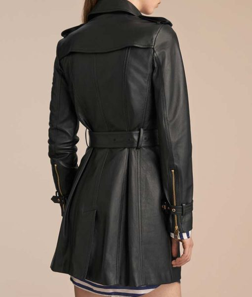 Mid-Length Womens Double Breasted Black Leather Trench Coat