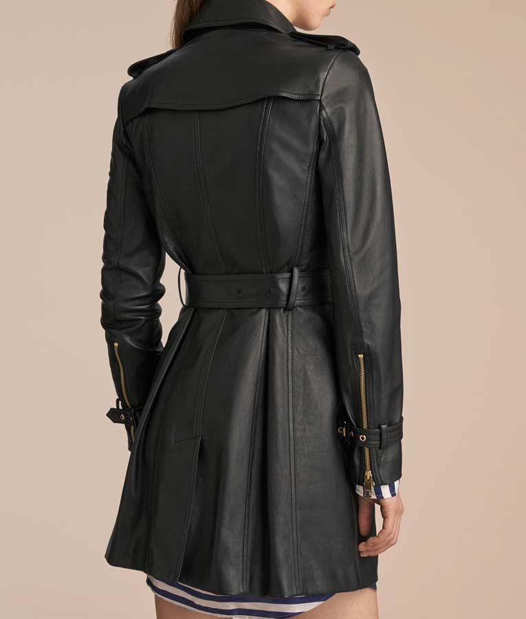 Super discount 2019 clearance sale diverse styles Womens Mid-Length Double Breasted Leather Coat