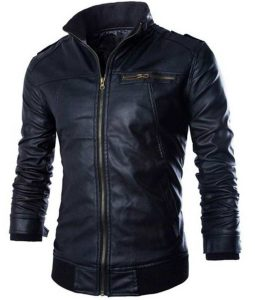 Mens Black Casual Slimfit Rib-Knitted Leather Jacket