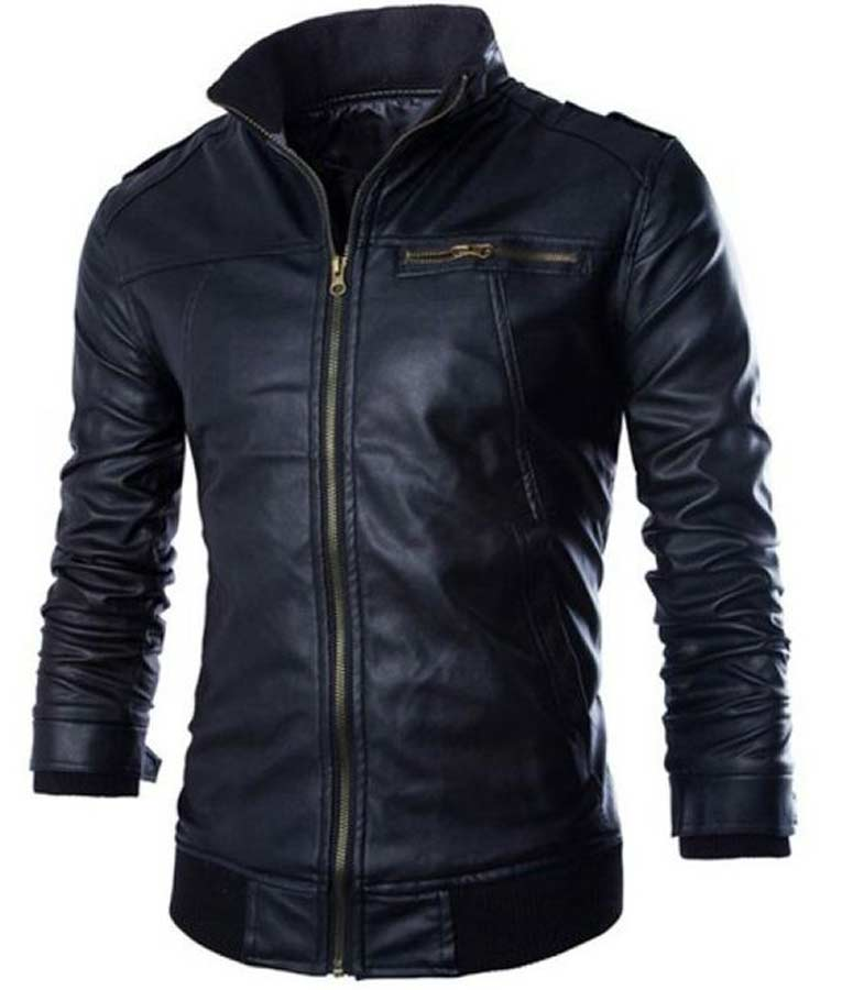 cc49caa95 Black Mens Slimfit Rib-Knitted Leather Jacket