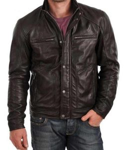 Mens Black Standard Fitting Zipper Pockets Buttoned Leather Jacket