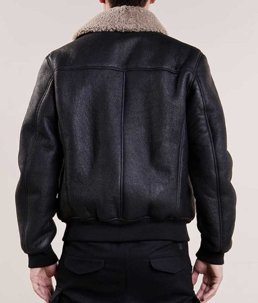 Mens Aviator Bomber Black Leather Jacket